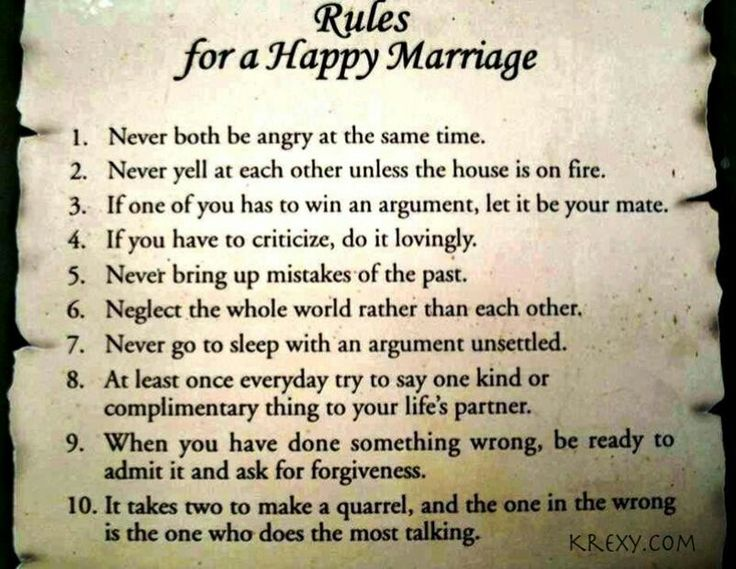 Rules to make marriage work