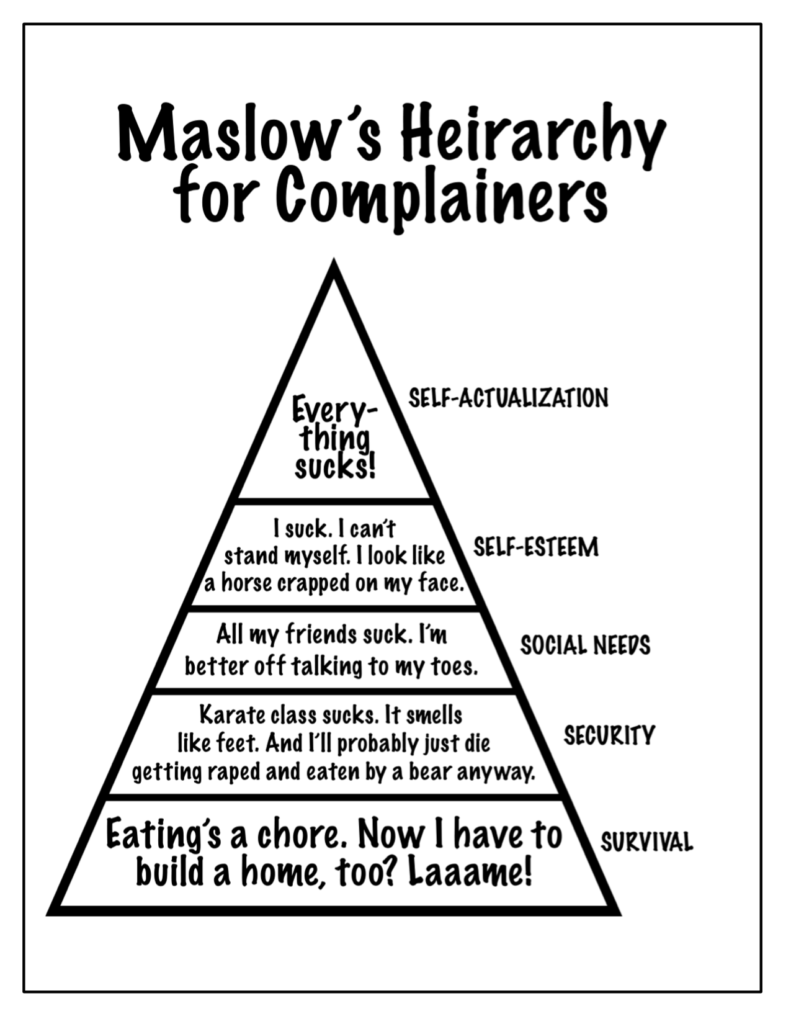 Stupid complaint : Maslow's Hierarchy for complainers