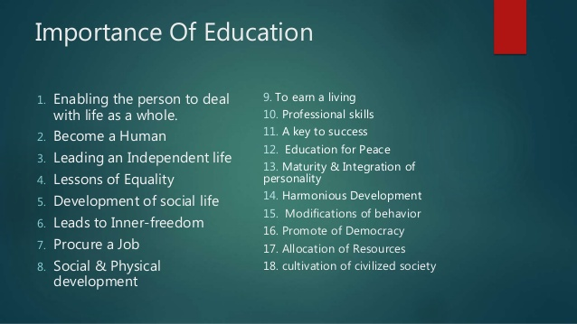 education aims purposes and importance of educational presentation