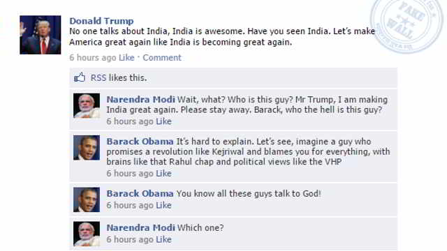Chat meme on Barack Obama Narendra modi and Donald trump