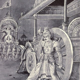 Karna: A monologue- kurukshetra Karna's wheel is stuck