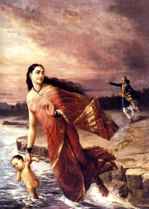 monologue; Raja Ravi Varma, Ganga and Shantanu 1890