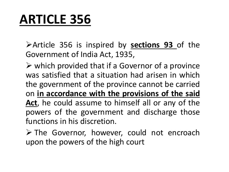 Misuse of Power: Article 356