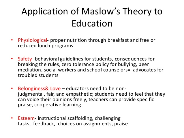 Application of Maslow's Theory of Motivation to Education