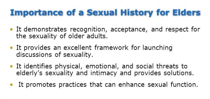 Sexual problems during old age: Importance of a sexual History for elders