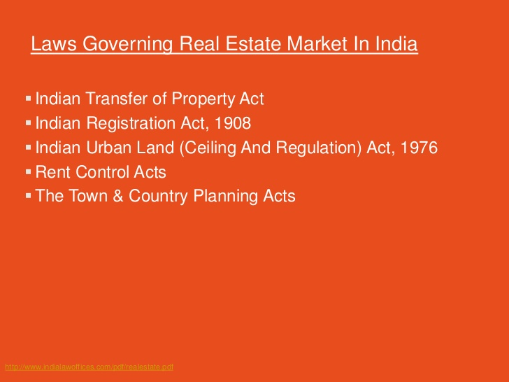 Property Disputes- Laws Governing Real Estate Market In India