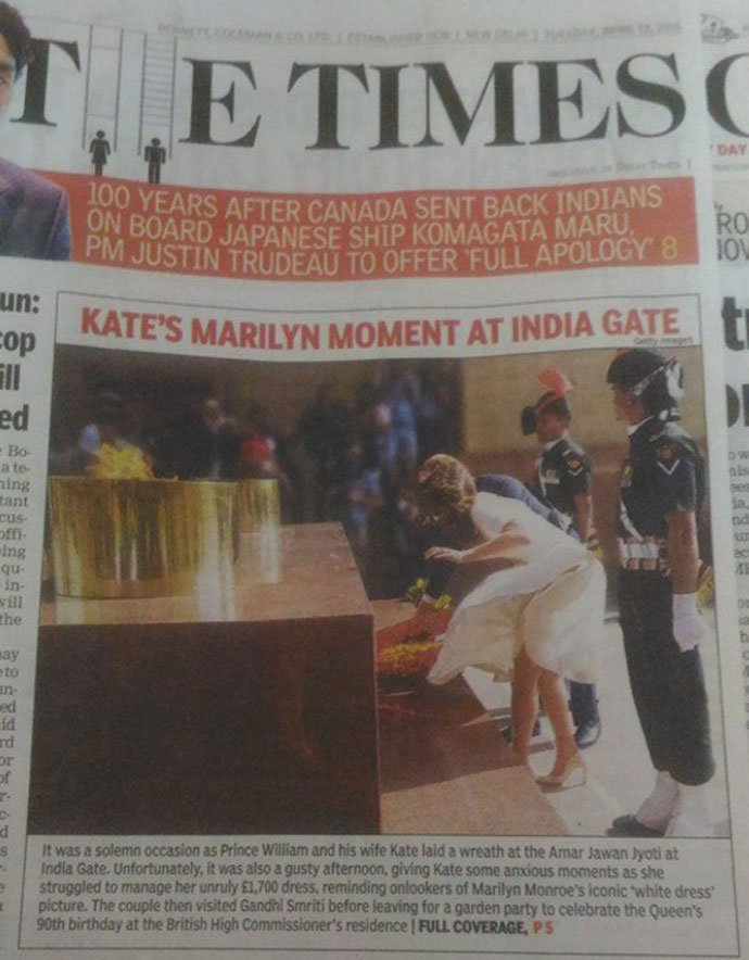 sensational journalism: Prince William And his wife Kate at India Gate